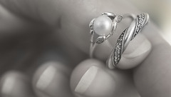 Rings and fingers but no bells (judith511) Tags: odc apartofme fingers rings desaturated monotone pearl pandorajewelry