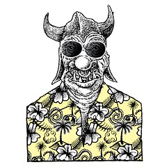 Orc on vacation (Don Moyer) Tags: orc hawaiianshirt pattern ink drawing notebook moyer donmoyer brushpen vacation