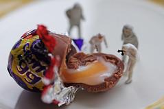 Check Before Eating (Hugobian) Tags: world people macro easter miniature little egg creme tiny eggs cadburys slinkachu