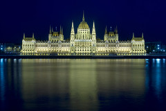 the hungarian parliament building (wunderskatz) Tags: city blue light urban building architecture night river landscape europe hungary shot geometry gothic budapest style bank parliament hour parlament danube buda pest hungarian revival longtimeexposure 1896 orszaghaz imresteindl