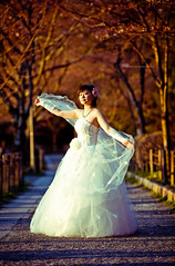 Dancing in the sunset (Lucas Shu) Tags: trees wedding sunset white nature girl beautiful beauty japan gold spring kyoto dress 100v10f       rememberthatmomentlevel1 rememberthatmomentlevel2