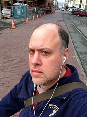 Day 452 - Day 86: Terry Avenue North (knoopie) Tags: selfportrait me march doug year2 trafficcones day86 picturemail iphone knoop day452 365days 2013 knoopie 365more 365daysyear2 terryavenuenorth