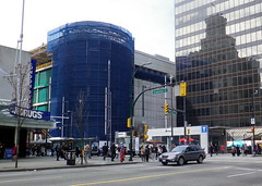 van13d01 Pacific Centre Renovation, Vancouver BC (CanadaGood) Tags: blue canada color colour building sign vancouver construction downtown bc britishcolumbia streetphoto granvillestreet londondrugs pacificcentre georgiastreet 2013 canadagood thisdecade