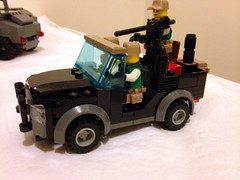A custom jeep, crewed by three Private Military Company (PMC) contractors (jskaare) Tags: lego jeep military huey helicopter soldiers custom humvee hmmwv pmc iroquois sikorsky contractors antiair