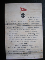 Third Class Titanic Menu for Thursday 11th of April 1912. (Jimmy Big Potatoes) Tags: ship iceberg atlanticocean oceanliner whitestarline rmstitanic tragedie