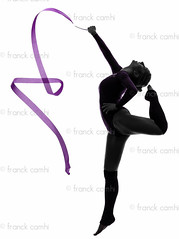 Rhythmic Gymnastics with ribbon woman silhouette (Franck Camhi) Tags: shadow people woman white sports girl silhouette female cutout person one 1 jumping exercise fulllength young indoors whitebackground ribbon studioshot athlete workout fitness adults rhythmicgymnastics leap isolated oneperson aerobics gymnastic caucasian exercising onewoman oneyoungwoman