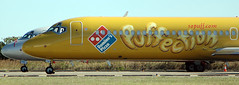 VH-YQH Boeing 717-231 Jetstar 'Domino's Pizza Puffection' logo-jet (Robert Frola Aviation Photographer) Tags: nikond70 2006 boeing boeing717 ybbn jetstarairways specialairlinerpaintschemes vhyqh