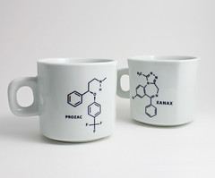 Coffee Mugs with Xanax and Prozac Molecules (lltownley) Tags: blackandwhite art cup coffee psychiatry ceramics coffeecup prozac science doctor chemistry drugs mug pottery medicine coffeemug etsy pills molecule xanax psychiatrist psychologist
