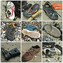 These boots arend made for walking! (Hnsel & Gretel) Tags: beach trash square denmark garbage sand shoes boots mosaic 9 northsea waste stranded flickrchallengegroup