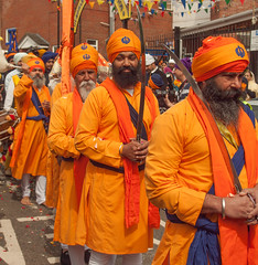 The Panj Piare or Five Beloved Ones in the 2013 Vaisakhi festival parade in Southampton (Anguskirk) Tags: uk england color colour festival hampshire procession sikh gurdwara southampton turbans saris vaisakhi 2013 nagarkirtan panjpiare fivebelovedones gurdrawananaksar