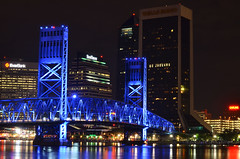 Downtown Jax   {Explore!} (Francine Schumpert) Tags: bridge blue architecture reflections lights cityscape wellsfargo stjohnsriver thejacksonvillelanding carling bluebridge suntrust downtownjacksonville 50mmlens mainstbridge gojaguars nikond5100 francineschumpert wwwfrancineschumpertcom bluebrifge