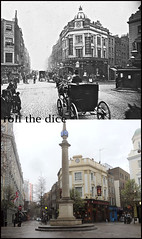 Seven Dials`1900-2013 (roll the dice) Tags: old uk horse london art history classic beer dutch rain architecture hotel pub traffic theatre camden radisson victorian ale collection sundial gb coventgarden local cart changes westend stgiles shaftesbury courage boozer oldandnew wc2 pastandpresent londonist bygone hereandnow thomasneale mercerstreethotel publichousr