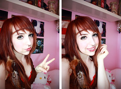 Gaijin Gyaru (Orichime) Tags: green girl circle japanese eyes princess feathers makeup mimi piercing kawaii dolly boho gaijin geo bohemian hime lenses gyaru orichime