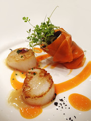 Scallops with salad wrapped in carrot jelly (Nada*) Tags: uk food london mobile restaurant salad phone telephone cell scallops delicious eat carrot seafood posh 4s foodfestival iphone belgravia michelinstar iphone4s londoncoffeefestival