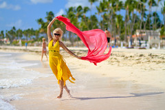 Whisked Away (Studio Photo Fantasy) Tags: sexy beach yellow dominicanrepublic blonde tropical caribbean russian puntacana barcelo bavaro yellowdress sexywoman tallblonde