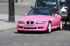 BMW Z3 (kenjonbro) Tags: uk pink london westminster trafalgarsquare bmw 1997 cabrio z3 charingcross sw1 roadster worldcars kenjonbro 1895cc canoneos5dmkiii p124oak barbielentmethis