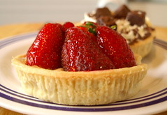Strawberry and chocolate cream tarts - 9 (Tony Worrall Foto) Tags: uk england food english cakes fruit nice berry berries photos sweet cream tasty eaten images sugar eat foodporn pastry snacks taste sugary bake tarts bought baked creamy piled stawberries tonysphotos creamtarts 2013tonyworrall