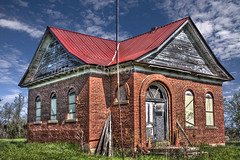 One-Room School House (Uncle Phooey) Tags: old school house brick abandoned rural spring country scenic sunny bluesky oldschool forgotten missouri weathered schoolhouse ozarks hdr highdynamicrange ruraldecay dilapidated springtime oneroomschool ruralschool ruralmissouri countryschool houseoflearning brickschool scenicmissouri