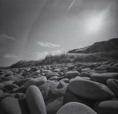 (RealitySoSubtle) Tags: camera ireland sea white black 120 film beach strand iso100 diy seaside clare noir fuji pinhole 150 analogue 12 mins blanc acros doonbeg kilkee stenop r09 doughmore