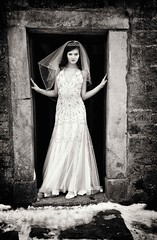 Enchanted (rocket_ross) Tags: wedding light 2 portrait people bw white black colour face contrast canon mono high noir moody veil dress photoshoot no l 5d agus ban et blanc f28 ef enchanted available mkii 1635mm dubh