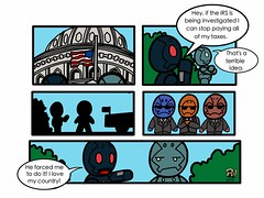 Little Robots Sunday Strip #92: Tax Free (Eye of The Sun God) Tags: dcgovernment littlerobotstaxirsfreesundaystripipadwebcomicillustrationwhitehousewashington