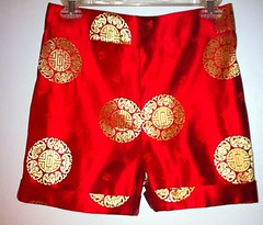 Red brocade shorts (Metropolitanfrock) Tags: fashion women shorts brocade cuffed