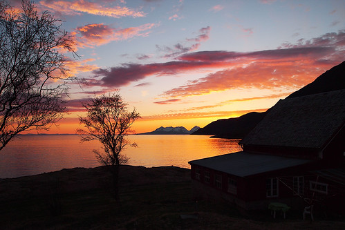 Midnight sunset in Northern Norway form my bedroom