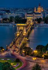 Szchenyi Chain Bridge (DomiKetu) Tags: bridge church night river lights nikon long exposure hungary cathedral suspension budapest trails chain trail le danube hdr buda pest vr lnchd szchenyi 18105mm d5100