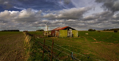 Shelter (Thibaut1711) Tags: panorama france abandoned windmill clouds canon landscape countryside country panoramic abandon shelter nuages campagne nordpasdecalais nord arras plaine abandonn pasdecalais abris pture eolienne eos1100d