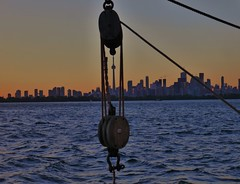 Toronto Skyline (LakeRidge Photography) Tags: toronto dusk sunset skyline highrise cntower skyscaper downtown lakeontario greatlakes pulley mast rigging empiresandy tallship cruise boat island