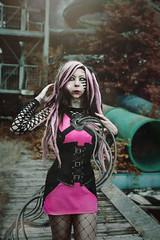 Angelshots. (Megan Glc Photographe) Tags: cyborg robot editing photomanipulation manipulation photoshop girl visual key future urbex outdoors portrait pink dreads surreal futuristic abandonned pool