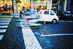 Twilight scooter blur (Stephen Dowling) Tags: italy film 35mm xpro lomography crossprocessed sanremo cosinacx2 agfact100precisa