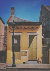 ochre ovation (jeneksmith) Tags: summertime summer urban city green yellow doorway shutters cottage house architecture frenchquarter bigeasy crescentcity nola neworleans louisiana canon