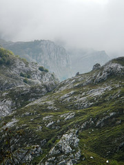 View of the mountains enveloped in fog from the mirador in the village of Bulnes in Spain (albatz) Tags: village bulnes spain mountains rock view fog