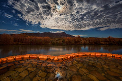 Riverbend Hot Springs (inlightful) Tags: hotsprings springs water pool night nightsky fullmoon cloudiridescence bliss southwest newmexico truthorconsequences sky nature moon reflections