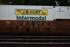 CHUB (TheGraffitiHunters) Tags: graffiti graff spray paint street art colorful freight train tracks benching benched chub intermodal