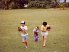 Bert Mandy and Kim with the Coconut Races - c1983 (kimstrezz) Tags: 1983 familytriptohawaiic1983 hanaleibay kauai kim bert mandy