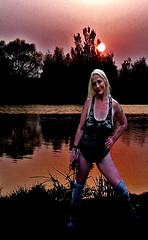 lady stalker  002 (team stalker) Tags: sexy woman milf stockings pvc shiny panties sexylegs blonde fishnets boots satin carp fishing lake carpie