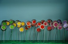 Field of Beer (irecyclart) Tags: flower metal mixedmedia reclaimed recycled sculpture