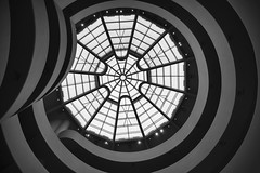Looking Up (roken-roliko) Tags: cityandarchitecture city architecture interior architectureinterior modern modernarchitecture nyc newyorkcity guggenheimmuseum rolandshainidze black white grey blackandwhite fineart lines patterns ceiling light glass elegant simple minimalist