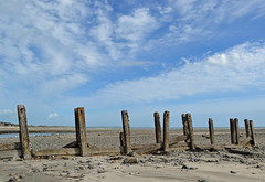 on the strand at Newcastle (conall..) Tags: 100916 beach sand shore newcastle countydown county down sun day bright wooden shimna estuary groyne groynes