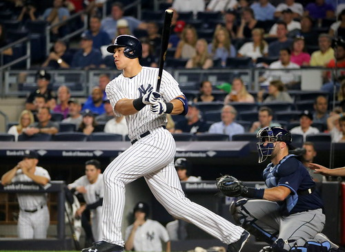 The Yankees' Aaron Judge singles during by apardavila, on Flickr