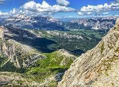 Passo Gardena seen from Lagazuoi (frodeturer (check albums for themes / places)) Tags: alps alpine dolomites dolomiti valgardena grden gherdeina italy geislergruppe sassolungo langkofel