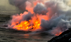 Lava flow into ocean, Hawaii (Rick Vega) Tags: coastlines coastal hikes lavaflow kilauea d7000 rocks 70200tamron nikon water fire volcanoesnationalpark volcanoes smoke kalapana goddessoffire pele lava thebigisland bigisland hawaii