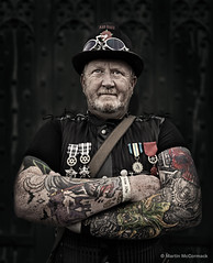 Tattoo Man (mjmcc) Tags: steam punk lincoln uk england tattoo man omd em1 olympus wwwmjmccormackcouk portrait costume holiday vintage