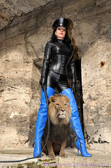 Tasha & the lion (piloukam) Tags: blue black girl lady fetish shoes noir highheels boots barbie gimp bleu heels spike bottes compositing lany fekete hautstalons ladytasha