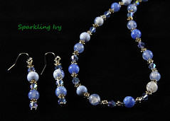 "22"" Blue Bead Necklace (SparklingIvy) Tags: silver handmade jewelry bead swarovski earrings lampwork handmadejewelry swarovskicrystals lampworkbeads"