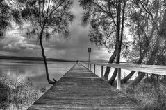 The 3rd jetty at  Long Jetty (please view next photo straightened) (loobyloo55) Tags: blackandwhite water mono jetty australia nsw newsouthwales centralcoast longjetty