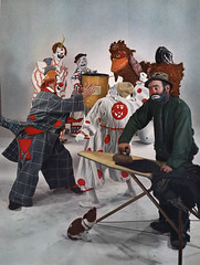 The Art and Technique of Color Photography (1951) - Circus Clowns (captainpandapants) Tags: camera dog silly art chicken collage photography photo duck scary comedy iron comic sad image clown barrel picture bum photograph laugh pooch clowning hobo ironing ihateclowns antagonize gjonmili