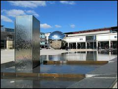Millennium Square, Bristol (pefkosmad) Tags: city uk england urban reflection modern publicspace bristol mirror globe orb sphere planetarium waterfeature harbourside millenniumsquare